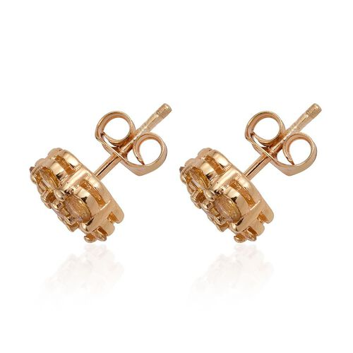 Marialite (Rnd) Floral Stud Earrings (with Push Back) in 14K Gold Overlay Sterling Silver 1.250 Ct.