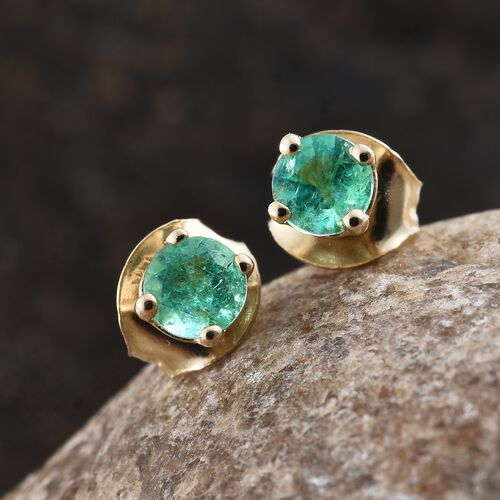 14K Yellow Gold 0.50 Ct AA Boyaca Colombian Emerald Solitaire Stud Earrings (with Push Back)