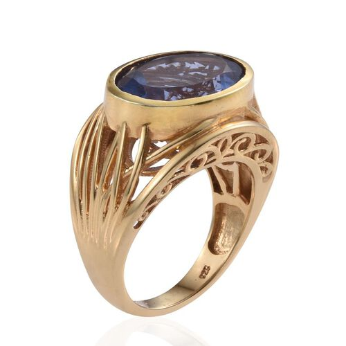Colour Change Fluorite (Ovl) Ring in 14K Gold Overlay Sterling Silver 10.000 Ct.