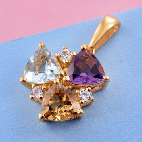 Sky Blue Topaz (Trl 1.30 Ct), Citrine, Amethyst and Natural Cambodian Zircon Pendant in 14K Gold Overlay Sterling Silver 3.750 Ct.