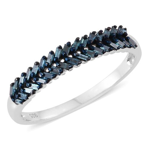 Designer Inspired - Blue Diamond (Bgt) Ring in Platinum Overlay Sterling Silver 0.330 Ct.