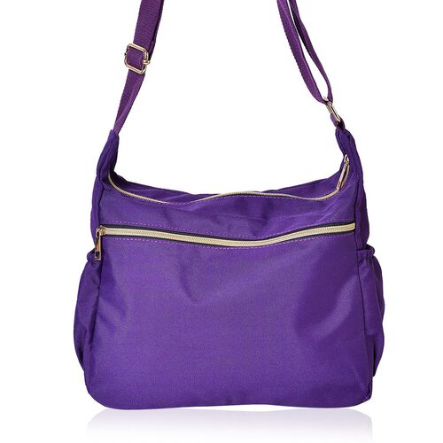 Designer Inspired- Purple Colour Multi Pocket Waterproof Crossbody Bag with Adjustable Shoulder Strap (Size 31X22X11 Cm)