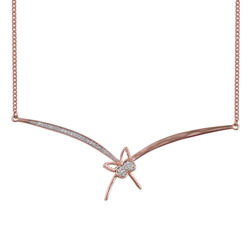Kimberley Butterfly Collection - Natural Cambodian Zircon (Rnd) Butterfly Necklace (Size 18) in Rose Gold Overlay Sterling Silver