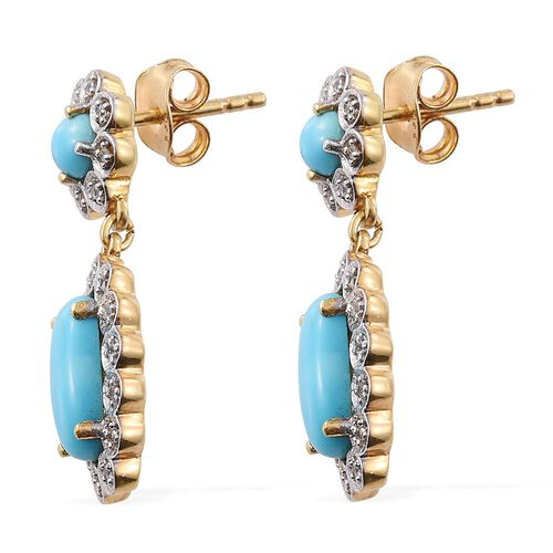 Arizona Sleeping Beauty Turquoise (Ovl), Natural Cambodian Zircon Earrings (with Push Back) in 14K Gold Overlay Sterling Silver 3.000 Ct.