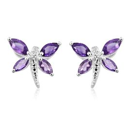 Amethyst (Mrq) Dragonfly Earrings (with Push Back) in Sterling Silver 1.250 Ct.