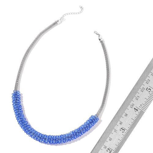 Simulated Tanzanite Mesh Chain Necklace (Size 20 with 2 inch Extender) in Silver Tone