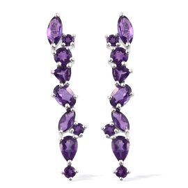 Amethyst (Ovl) Earrings (with Push Back) in Sterling Silver 4.250 Ct.