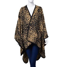 Designer Inspired - Black and Beige Colour Leopard Pattern Poncho (Size 130x80 Cm)