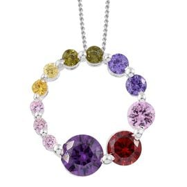 ELANZA AAA Simulated Amethyst (Rnd), Simulated Garnet, Simulated Pink Sapphire, Simulated Tanzanite and Simulated Multi Gemstone Necklace in Platinum Overlay Sterling Silver