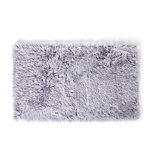 Light Grey Colour Faux Fur Bathmat (Size 80X50 Cm), Toilet Cover (Size 45X40 Cm) and Contour Mat (Size 50X40 Cm) with Anti Slip Rubber at Back