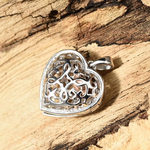 Designer Heart Pendant with Pebble Inside in Platinum and Rose Gold Plated Silver