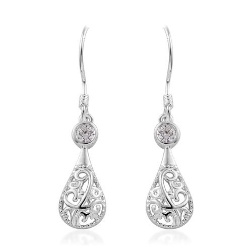 J Francis - Sterling Silver (Rnd) Filigree Drop Hook Earrings Made with SWAROVSKI ZIRCONIA