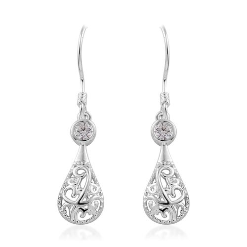 J Francis - Sterling Silver (Rnd) Filigree Hook Earrings Made with SWAROVSKI ZIRCONIA