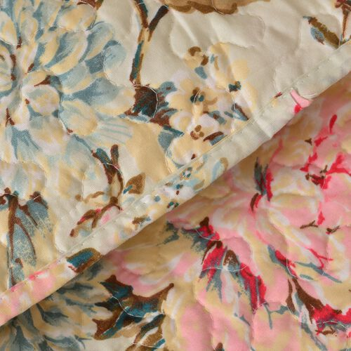 Set of 4 - Double Size Pink Floral Printed Beige Colour Duvet Cover with with King Size Fitted Sheet and Two Pillow Shams (Estimated dispatch within 5-7 working days)