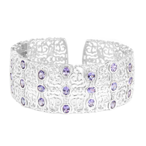 Tanzanite (Ovl), White Topaz Cuff Bangle (Size 7.5) in Platinum Overlay Sterling Silver 8.000 Ct.
