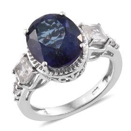 Royal Blue Topaz (Ovl 6.06 Ct), White Topaz Ring in Platinum Overlay Sterling Silver 7.250 Ct.