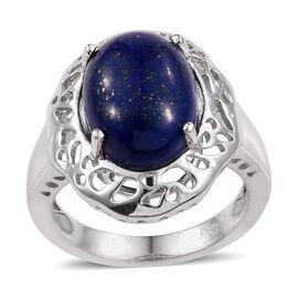 Lapis Lazuli (Ovl) Solitaire Ring in ION Plated Platinum Bond 7.000 Ct.