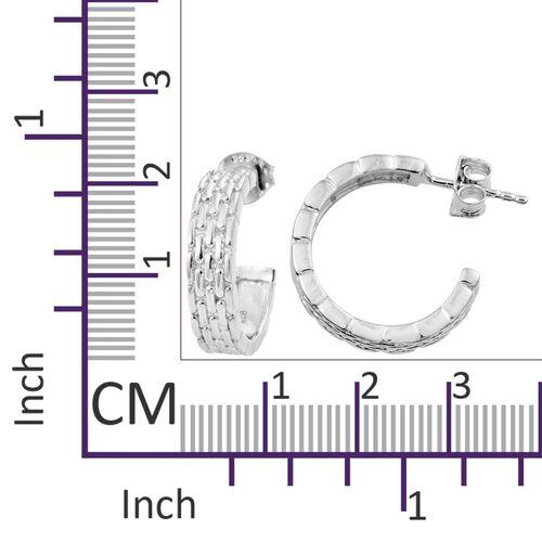 Designer Inspired - Platinum Overlay Sterling Silver J Hoop Earrings (with Push Back).Silver Wt 5.16 Gms
