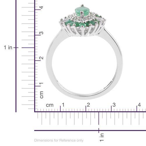 Kagem Zambian Emerald (MRQ), White Topaz Ring in Platinum Overlay Sterling Silver 1.250 Ct.