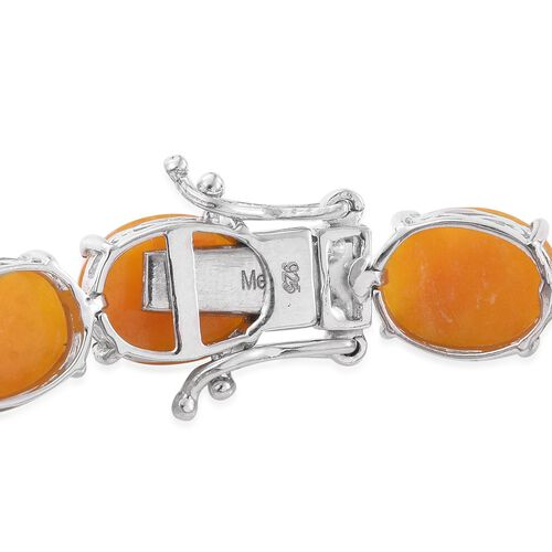 Yellow Jade (Ovl) Bracelet (Size 7.75) in Platinum Overlay Sterling Silver 67.250 Ct.