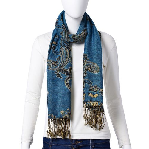New Season-Gold and Multi Colour Bandana Pattern Blue Colour Scarf with Tassels (Size 170x70 Cm)