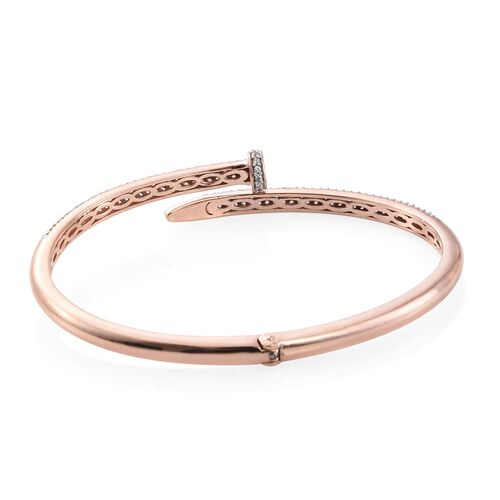 J Francis - Signature Collection Rose Gold Overlay Sterling Silver (Rnd) Nail Bangle (Size 7.5) Made with SWAROVSKI ZIRCONIA.200 pcs of Swarovski Zirconia Studded. Silver wt. 16.93 Gms.