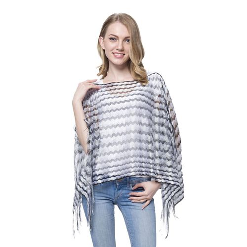 Black, White and Grey Colour Stripe Pattern Poncho (Size 90x55 Cm) and Black Colour Vest (Size 60x55 Cm)