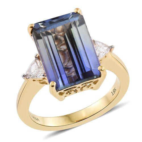 ILIANA 18K Yellow Gold Peacock Tanzanite (Oct 10.05 Ct), Diamond Ring 10.350 Ct.