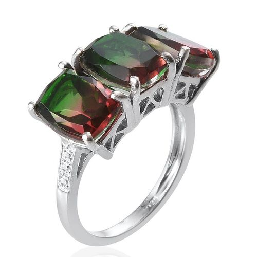 Tourmaline Colour Quartz (Cush) Trilogy Ring in Platinum Overlay Sterling Silver 6.750 Ct.
