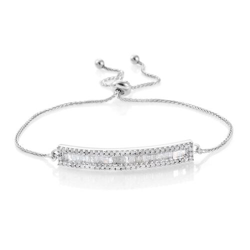 Diamond (Bgt) Adjustable Bracelet (Size 6.5 to 7.5) in Platinum Overlay Sterling Silver 0.751 Ct.