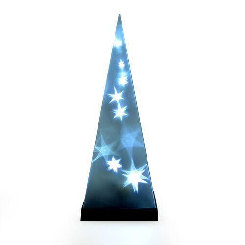 (Option 1) LED Light Star Pattern Rotating Pyramid (Size 30x13 Cm)