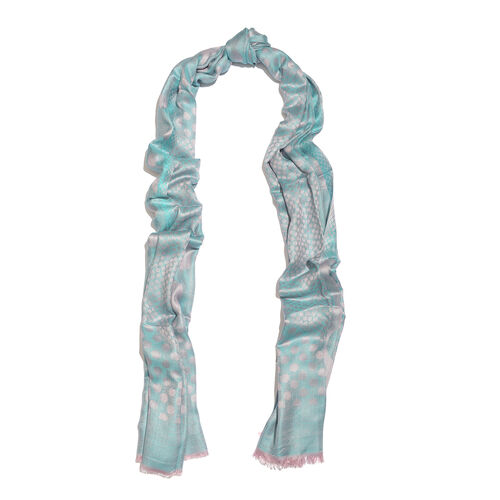 Blue and Light Pink Colour Polka Dots Pattern Reversible Jacquard Scarf with Fringes (Size 190X70 Cm)