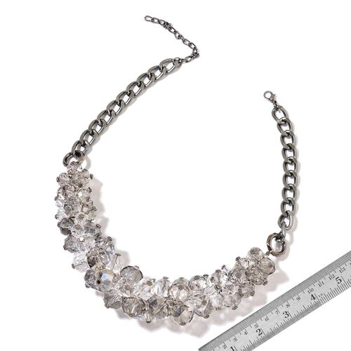 Simulated Grey Moonstone and Simulated White Diamond Necklace (Size 20 with 5 inch Extender) in Black Tone