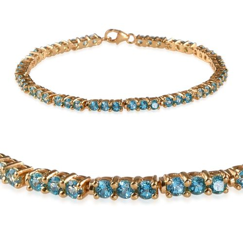 Signity Paraiba Topaz (Rnd) Bracelet in 14K Gold Overlay Sterling Silver (Size 7) 7.000 Ct.