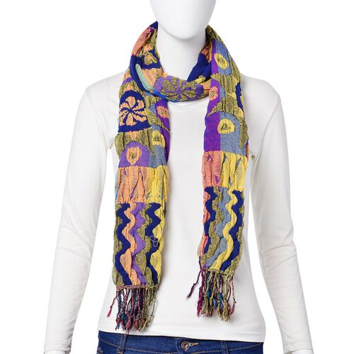 Blue, Yellow and Multi Colour Ethnic Pattern Reversible Scarf with Tassels (Size 170X30 Cm)