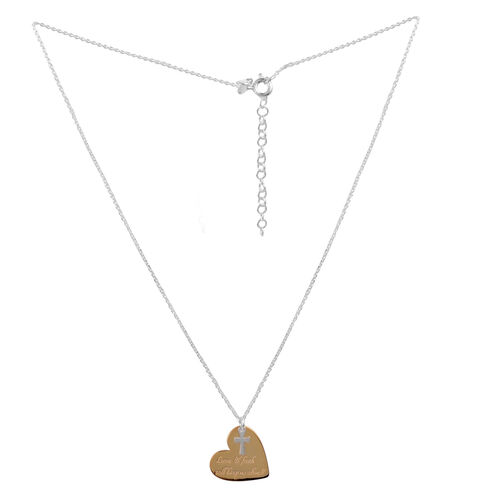 EXPRESS YOURSELF Yellow Gold Overlay and Sterling Silver Love and Faith Quote Pendant With Chain (Size 16 with 2 inch Extender)