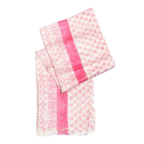 Pink and White Colour Printed Sarong (Free Size)