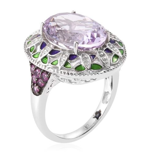 GP Rose De France Amethyst (Ovl), Rhodolite Garnet and Kanchanaburi Blue Sapphire Ring in Platinum Overlay Sterling Silver 8.850 Ct.