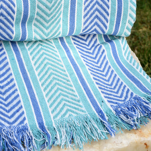 Final Stock Deal - Green, Purple and White Colour Plaid (Size 150x120 Cm)