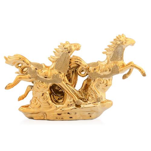 Home Decor - Golden Colour Ceramic Three Horses (Size 25x16x6 Cm)