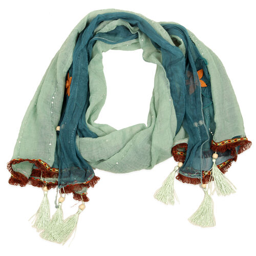 Floral Pattern Green and Blue Colour Scarf (Size 180x65 Cm)
