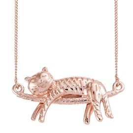 Rose Gold Overlay Sterling Silver Cat Necklace (Size 18), Silver wt 5.65 Gms.