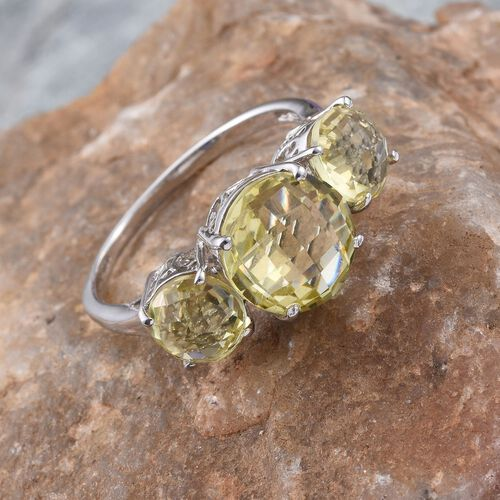 Natural Ouro Verde Quartz (Rnd 3.75 Ct) 3 Stone Ring in Platinum Overlay Sterling Silver 6.500 Ct.