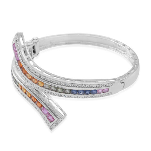 Pink Sapphire (Rnd), Green Sapphire, Yellow Sapphire, Madagascar Blue Sapphire, Orange Sapphire and White Sapphire Bangle (Size 7.5) in Rhodium Plated Sterling Silver 7.010 Ct.