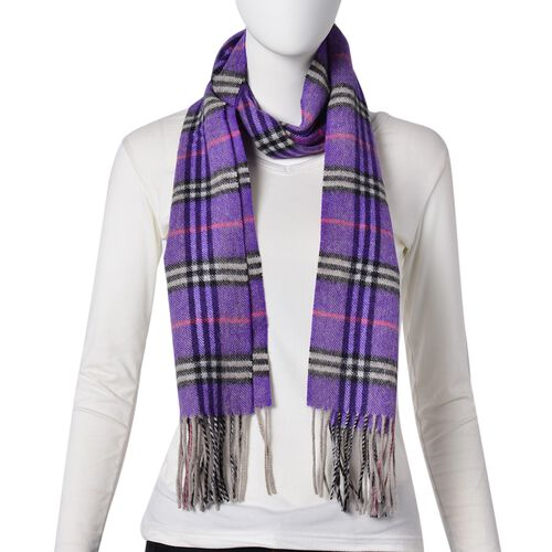100% Wool Purple, Pink and Black Colour Checker Pattern Scarf with Tassels (Size 180X30 Cm)