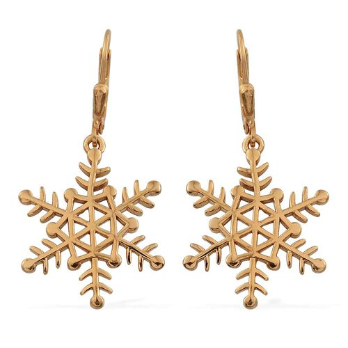 14K Gold Overlay Sterling Silver Snowflake Lever Back Earrings, Silver wt 5.20 Gms.