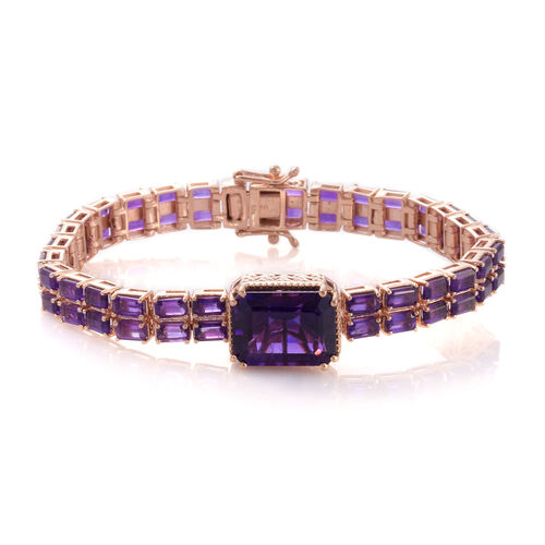 Lusaka Amethyst (Oct 11.75 Ct) Bracelet (Size 7.5) in Rose Gold Overlay Sterling Silver 27.500 Ct. Silver wt. 22.48 Gms.