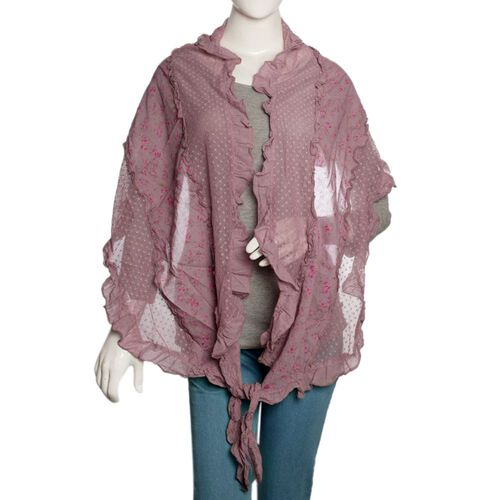 50% Cotton Mauve, Pink and Multi Colour Floral Pattern Scarf with Hand Made Ruffle Border (Size 200X40 Cm)