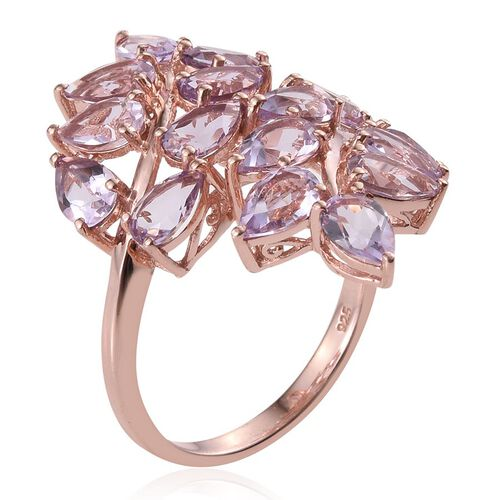 Rose De France Amethyst (Pear) Leaves Crossover Ring in Rose Gold Overlay Sterling Silver 5.500 Ct.