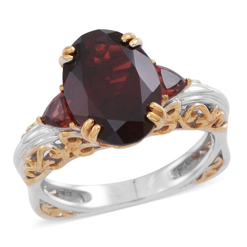 Limited Edition- Very Rare Size AAA Mozambique Garnet (Ovl 6.40 Ct) Ring in Rhodium Plated and Yellow Gold Overlay Sterling Silver 7.000 Ct. Silver wt 5.40 Gms.